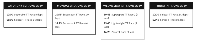 2019 Isle of Man TT Schedule