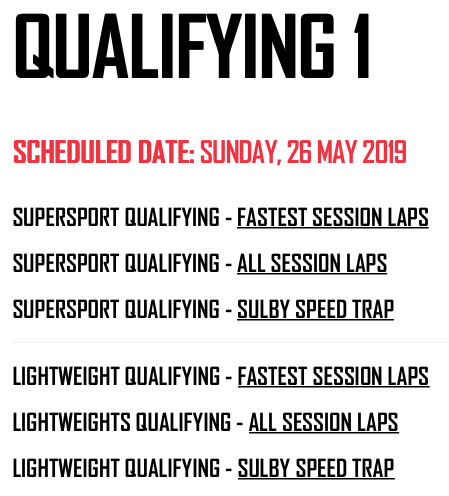 2019 Isle of Man TT Qualifying Session 1 : 26/05/2019 : Results