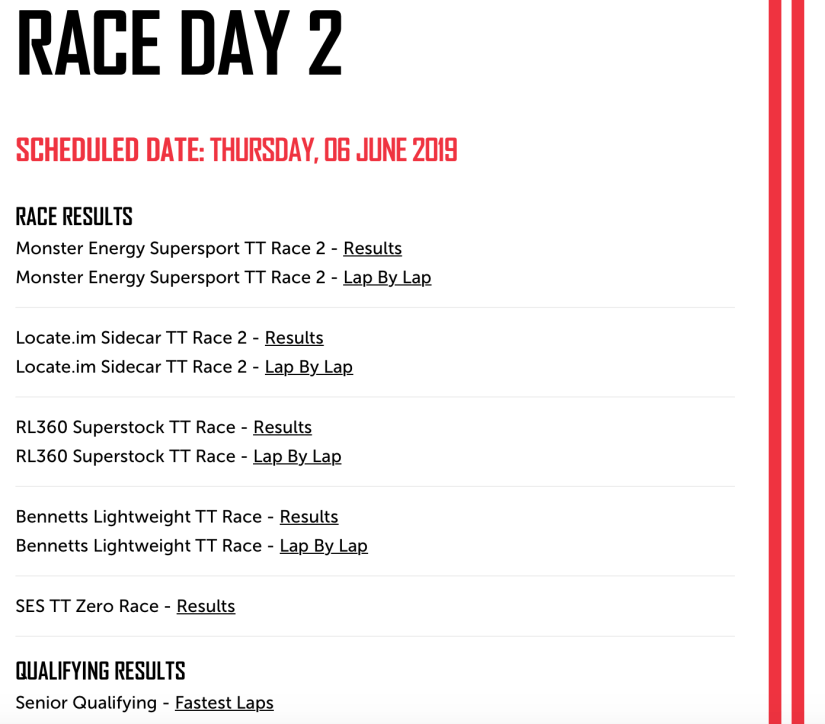 2019 TT Results : Race Day 2