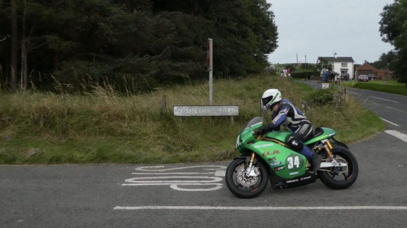 Joe Loughlin on his Supertwins at the 2019 Ulster Grand Prix