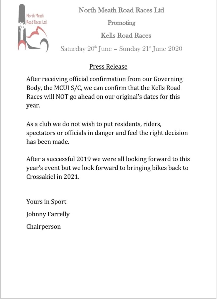 2020 Kells Road Races Press Release