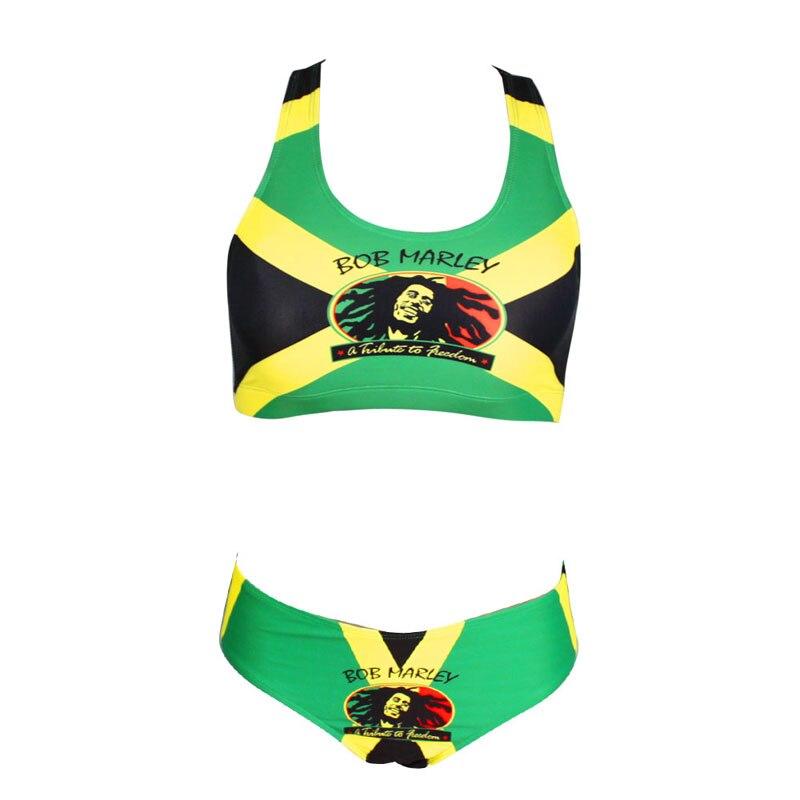 829ba5486a050 Sexy Caribbean Jamaica flag Rasta Two Piece Bikini SWIMSUIT SWIMWEAR size S  M L XL XXL