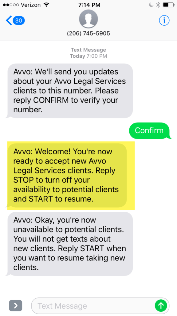 Avvo Legal Services Text Messages