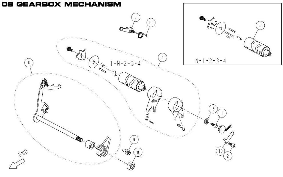 Daytona Anima 150 and 190 4V O.E.M. Gearbox Mechanism #5