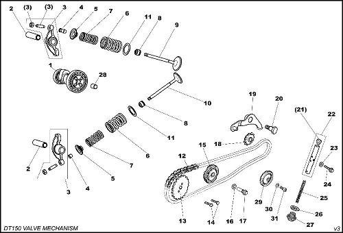crf50 wiring diagram vtec obd1 daytona 150 #13 timing driven sprocket - whs-1947 valve mechanism parts ...