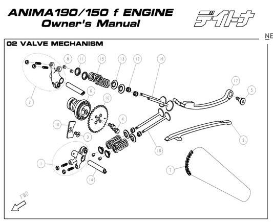 Daytona Anima 150 and 190 4V O.E.M. Valve Mechanism #18