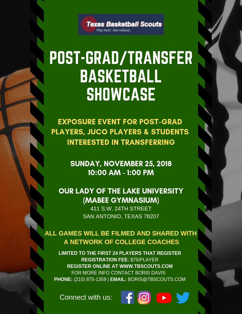 Post-Grad Transfer Basketball Showcase Flyer v2