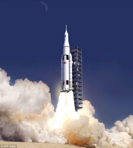 Ultimate goal: The Orion capsule atop a SLS rocket launching into orbit. Subject to funding, Nasa hopes to pair the capsule and the mighty Saturn V-style booster for a launch in 2017