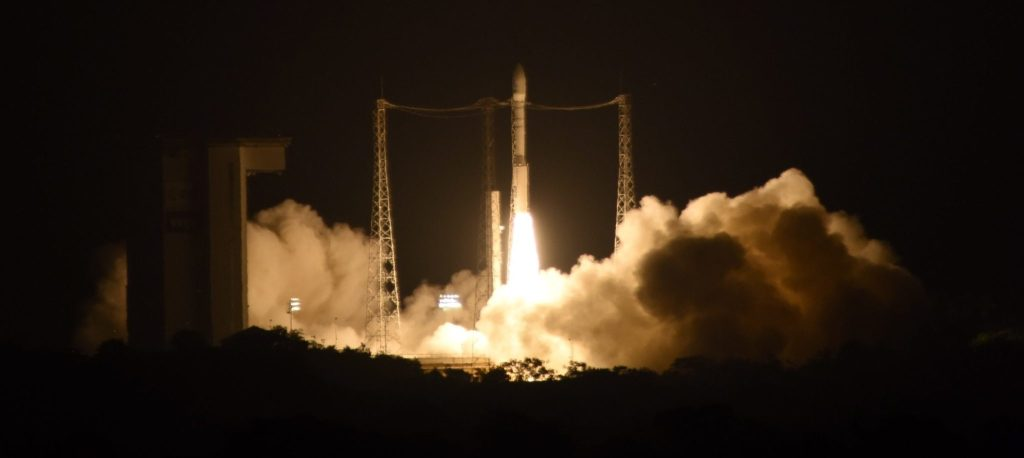 This picture taken with remote point 1 camera and provided by the European Space Agency, ESA, shows the liftoff of Vega VV06 rocket carrying LISA Pathfinder on Thursday Dec. 3, 2015 from Europe's Spaceport, Kourou French Guiana. The European Space Agency on Thursday launched a rocket carrying two cubes of gold and platinum almost a million miles from Earth so that scientists can see how they'll behave in free fall—at a cost of more than US $450 million.(Stephane Corvaja/ESA via AP)