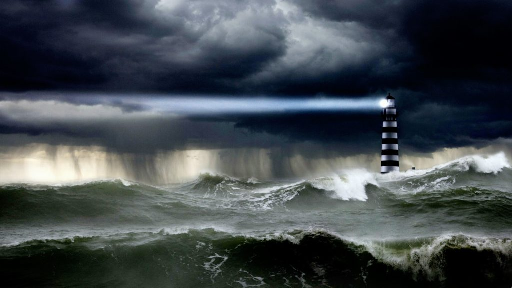 Lighthouse in Storm Image by John Lund/Corbis