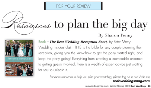 Real Weddings Magazine Winter 2009 TBWRE Plug