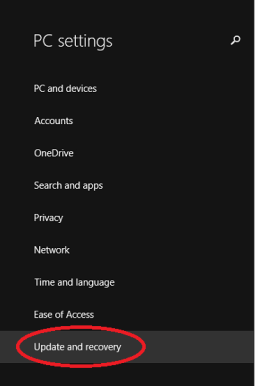 Windows 8 Backup Settings App with Update and Recovery Highlighted