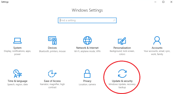 Image of Windows 10 Settings App Menu with the Update and Security Icon Highlighted