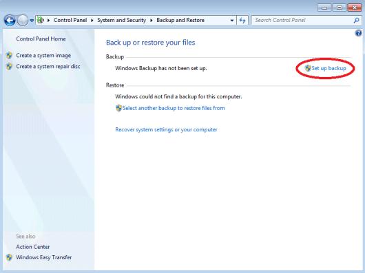Image of Windows 7 Backup Control Panel Applet with Set Up Backup Option Highlighted