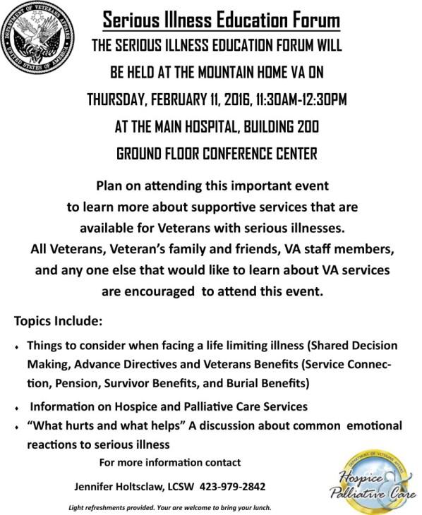 Serious Illness Education Forum at Mountain Home VA-Feb 2016
