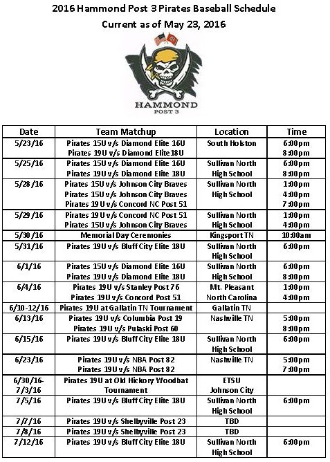 2016 Hammond Post 3 Pirates Baseball Schedule (2)