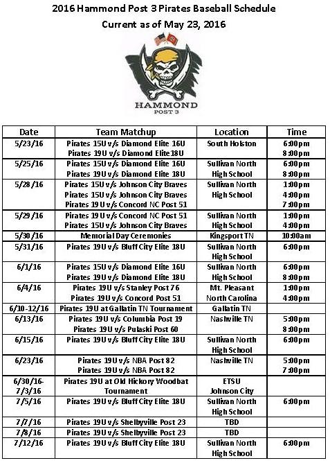 2016 Hammond Post 3 Pirates Baseball Schedule (2)