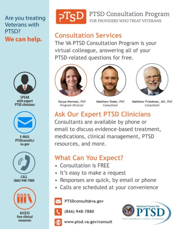 Poster promoting PTSD Consultation Program's services and resources