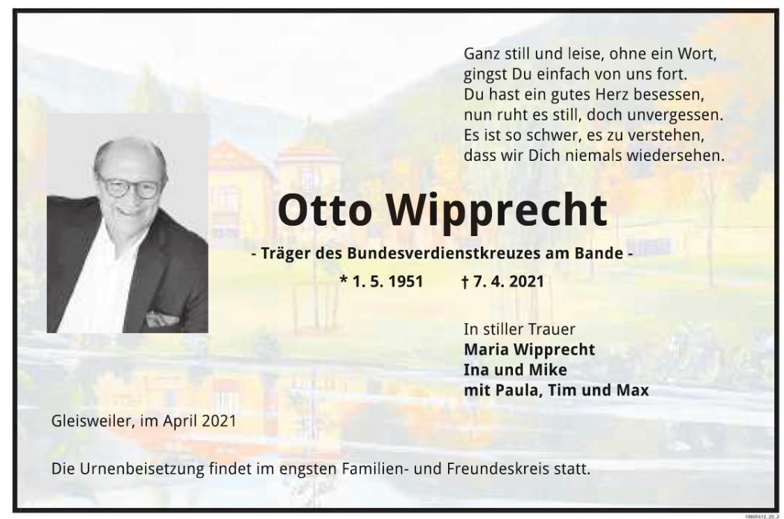 Nachruf: Ehrenmitglied Otto Wipprecht verstorben