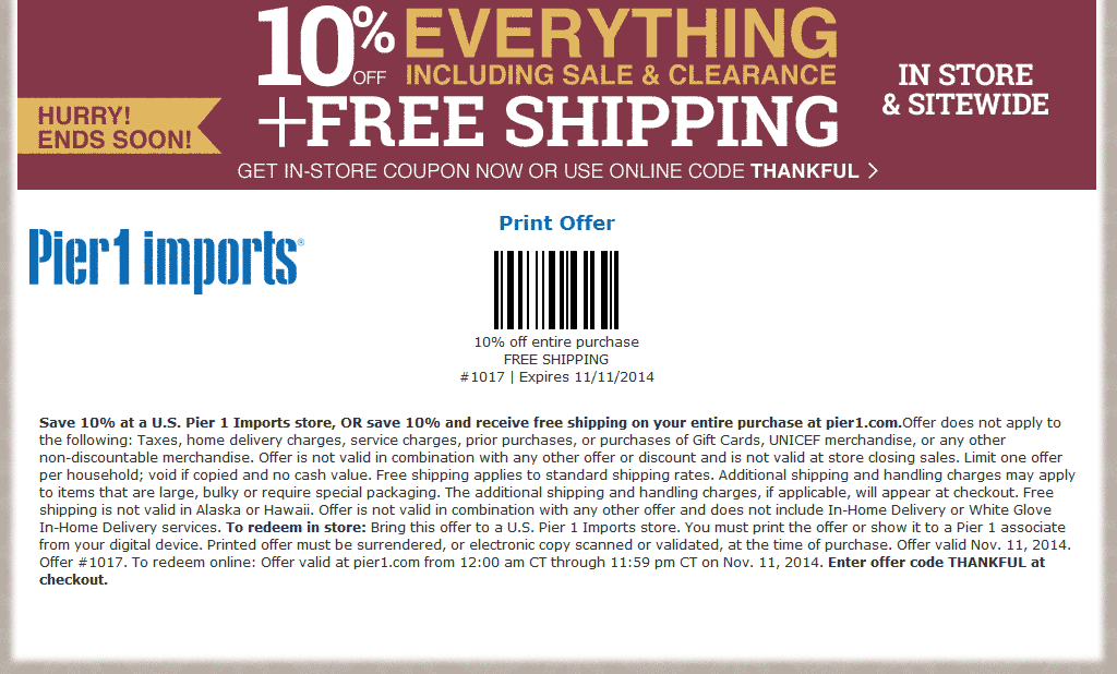 Pier one online shopping