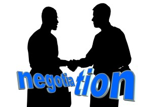 Two people negotiating