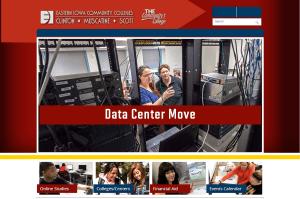 Screenshot of www.eicc.edu website showing message 'Data Center Move'