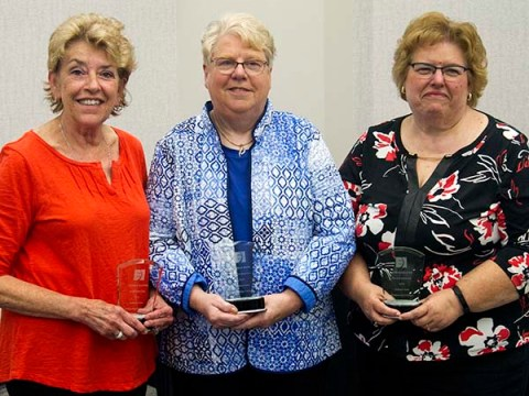Glo Hanne, Pam Bass, and Jane Marlowe holding their Emeritus Awards