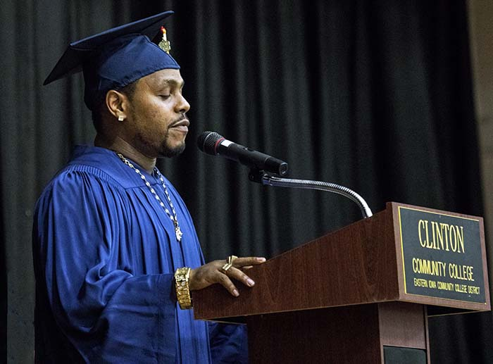 Male graduate giving his commencement speech