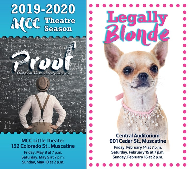 MCC Theater Poster for Proof and Legally Blonde