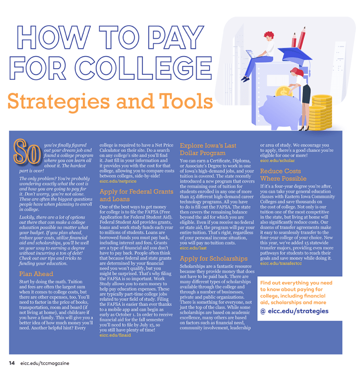How to Pay for College article layout