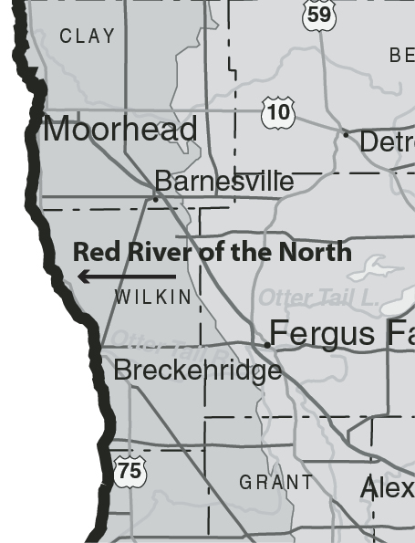 Red River Of The North Map : river, north, River, North, World, Atlas