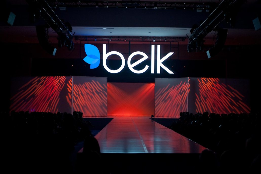 Custom stage set for a fashion show and rebranding for Belk.