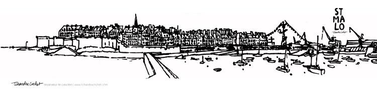 Carte postale panoramique Saint-Malo, carte postale dessin Saint-Malo