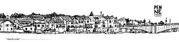 Carte postale panoramique Penne d'Agenais, carte postale dessin Penne d'Agenais