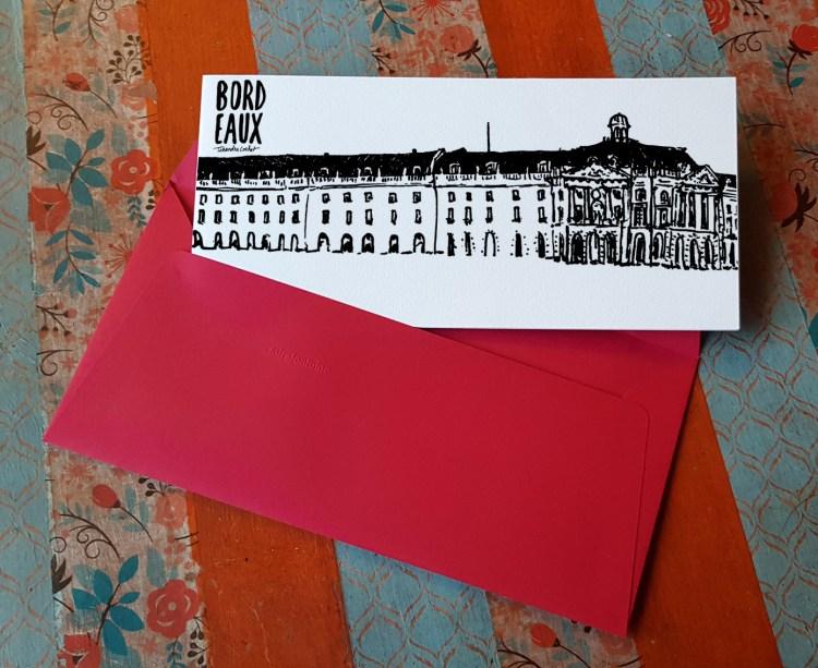 Carte postale panoramique créateur Bordeaux avec enveloppe