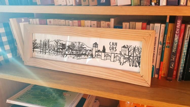 Dessin panoramique Cahors avec cadre