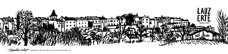 Carte postale panoramique Lauzerte, carte postale dessin Lauzerte