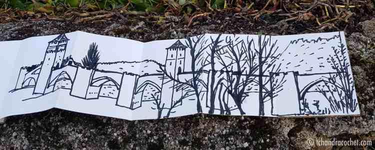 Dessin panoramique de Cahors