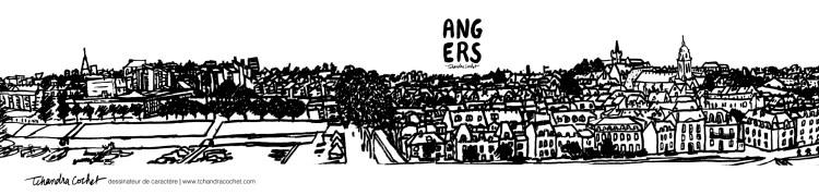 La Doutre, Angers, carte postale panoramique