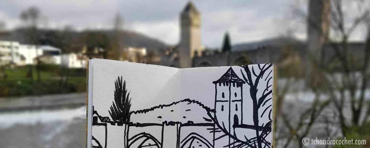 Cahors, le pont Valentré dessiné par Tchandra Cochet