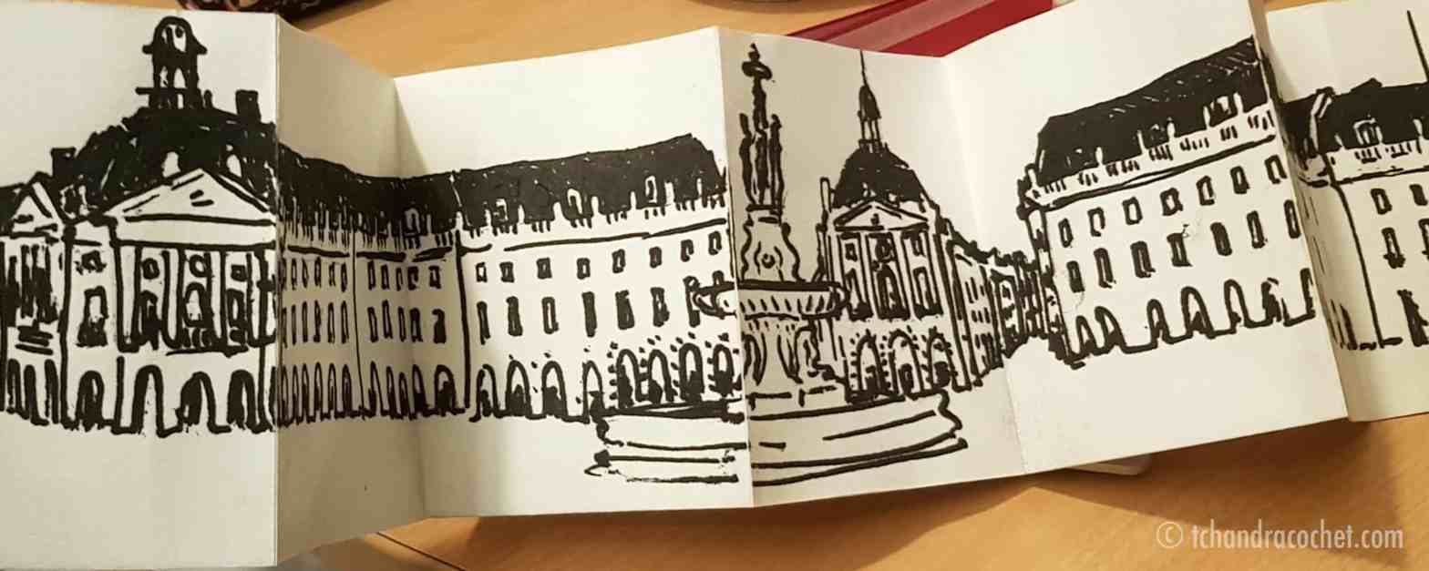 Dessin panoramique de Bordeaux, place de la Bourse