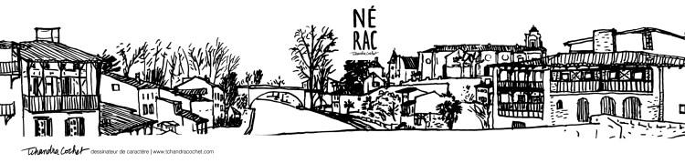 Dessin panoramique de Nérac par Tchandra Cochet