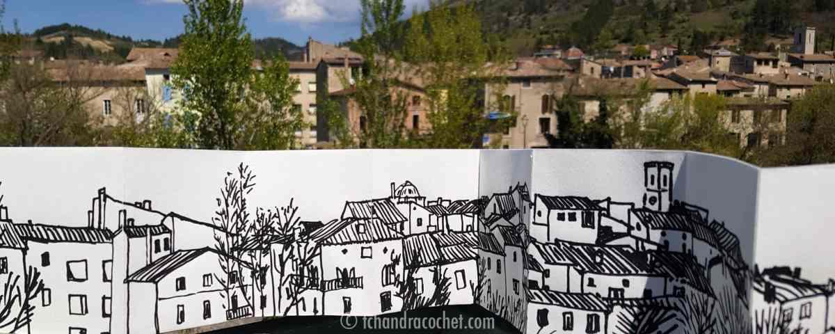Dessin panoramique de Saillans Drôme