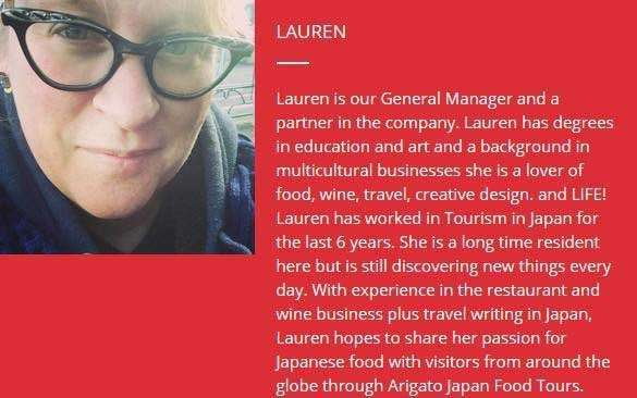 Graphic featuring a photo of Arigato Food Tours' guide Lauren and some biographical information about her