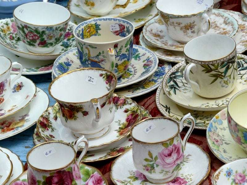 Where Are All the Tea Shops in America - Photo of teacups on saucers