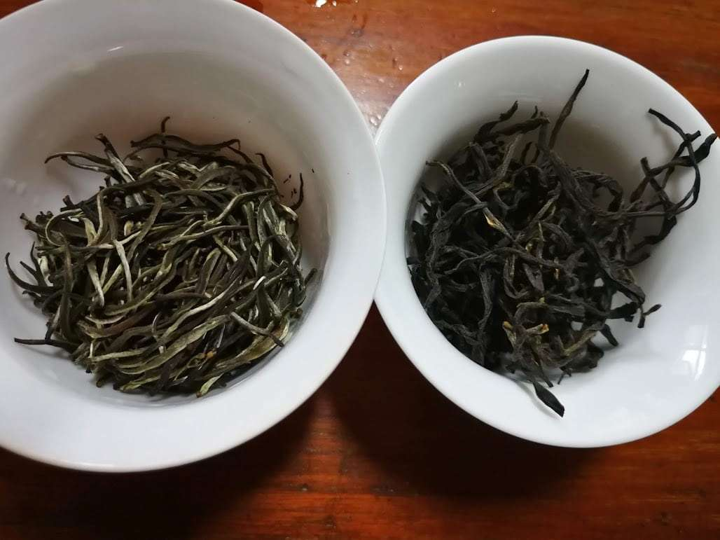 Potentially problematic tea designated as Ceylon: Tea in two white gaiwans