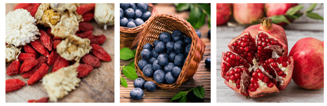 photos of acai berries, blueberries and pomegranate fresh fruit