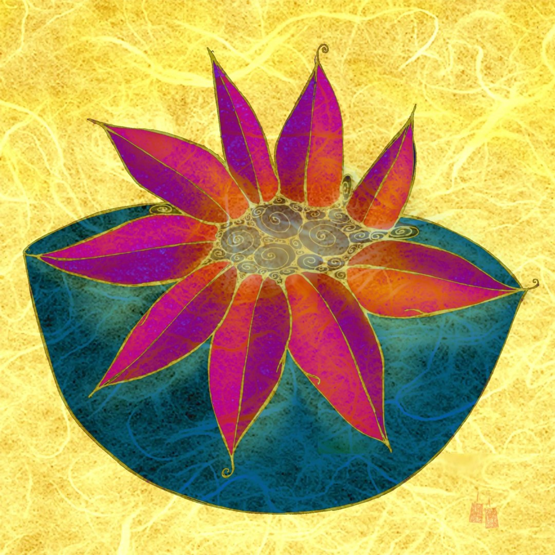 Illustration of a large-petaled flower blooming out of a cup of tea