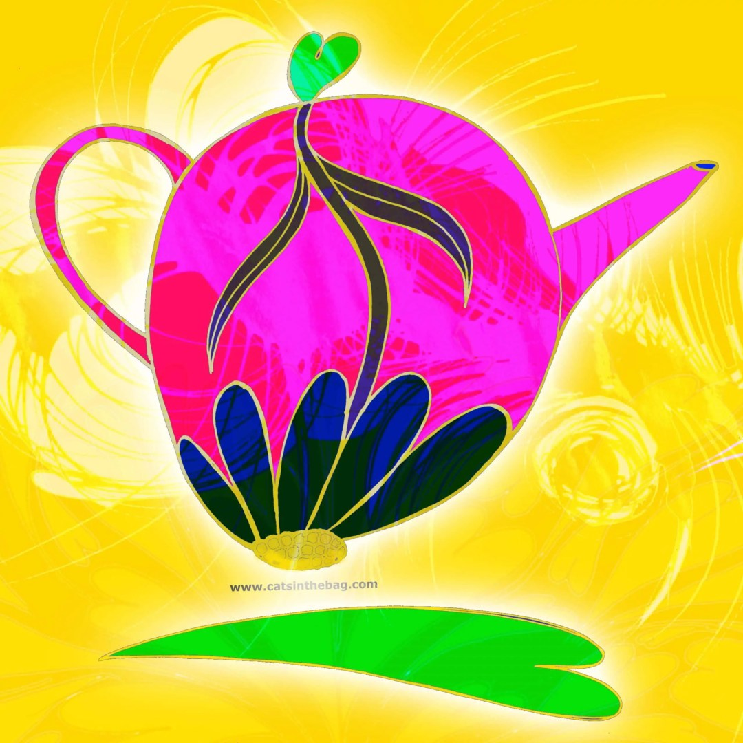 Illustration by author of teapot with inverted daisy inside