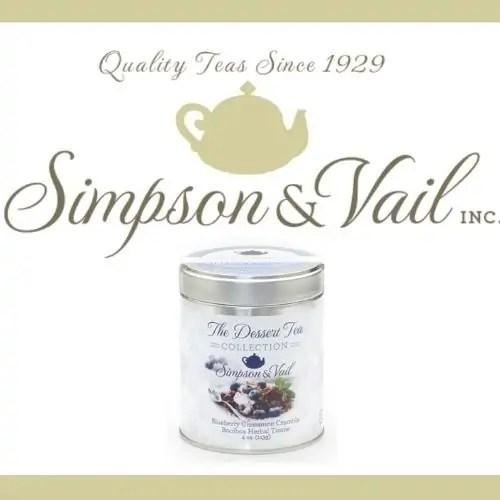 Simpson & Vail tea company logo with canister of tea